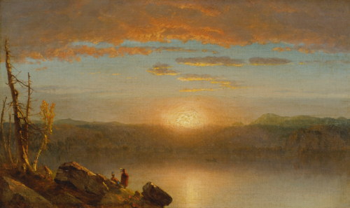 """Indians at sunset/Sunset in the Wilderness."" ca. 1859."