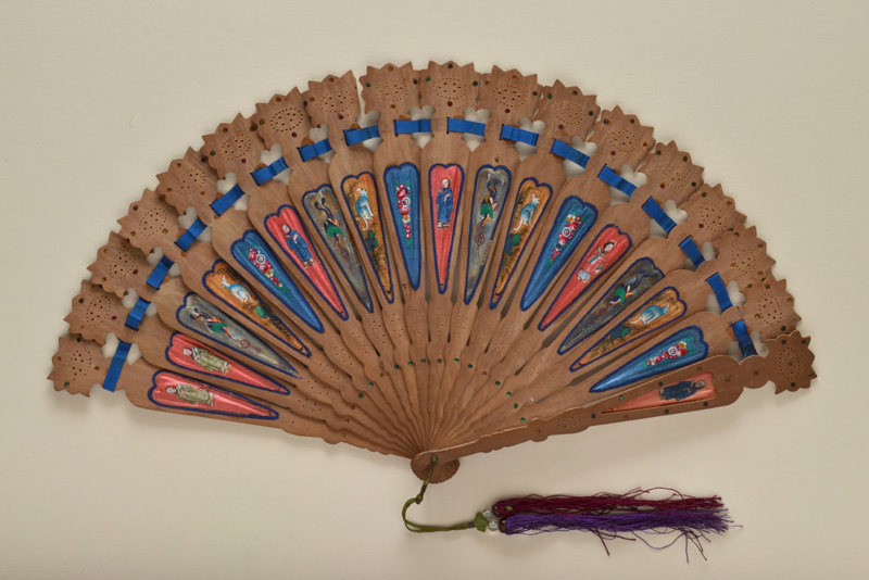 Wood fan with painted silk insertions. ca. 1860.