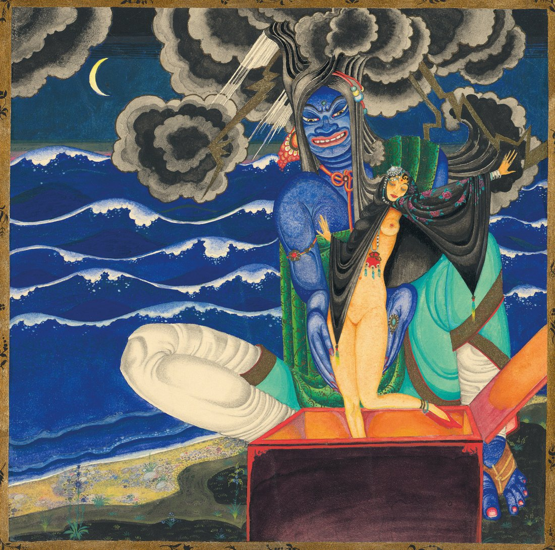 "Genie releasing a beautiful woman from a chest from """"The Story of King Schahriyar and His Brother Schahzena""."