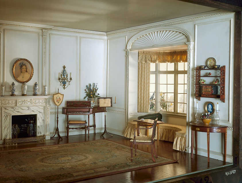 English drawing room of the Georgian Period, ca. 1800.