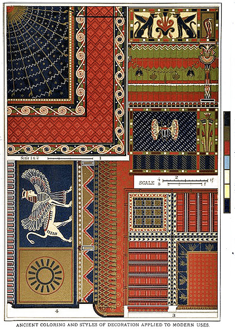 Ancient coloring and styles of decoration applied to modern uses. Egyptian decoration.
