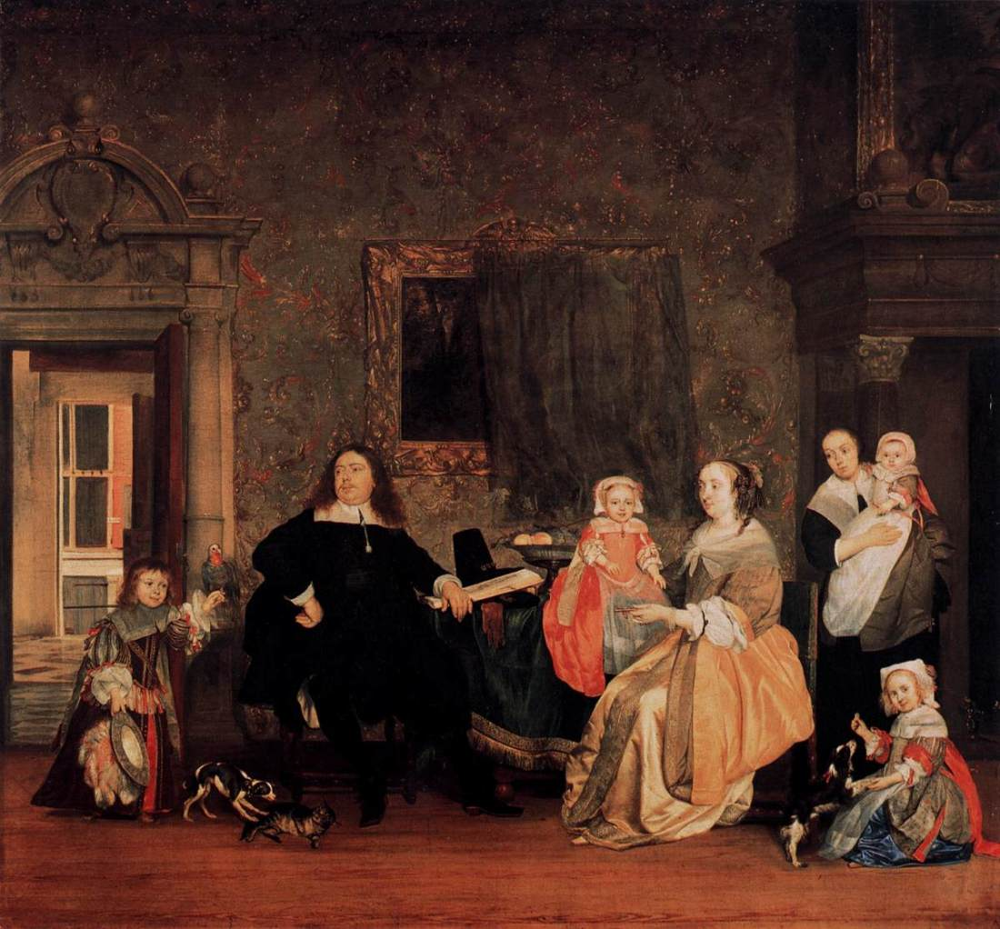 """Portrait of Jan Jacobsz Hinlopen and his Family."" ca. 1662-63."