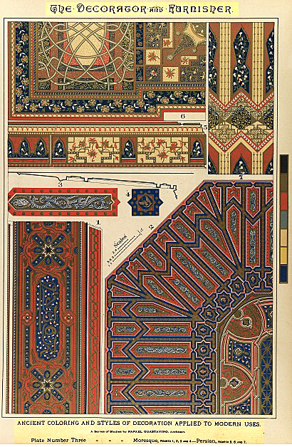 Ancient styles and coloring of styles applied to modern uses. Moorish and Persian decorations.