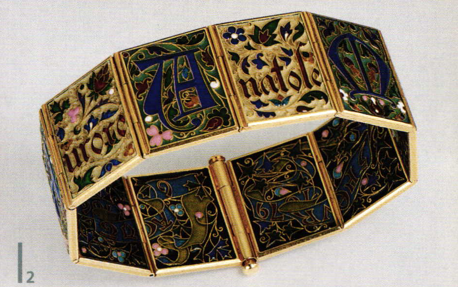 Bracelet in the style of medieval book illumination. ca. 1880.