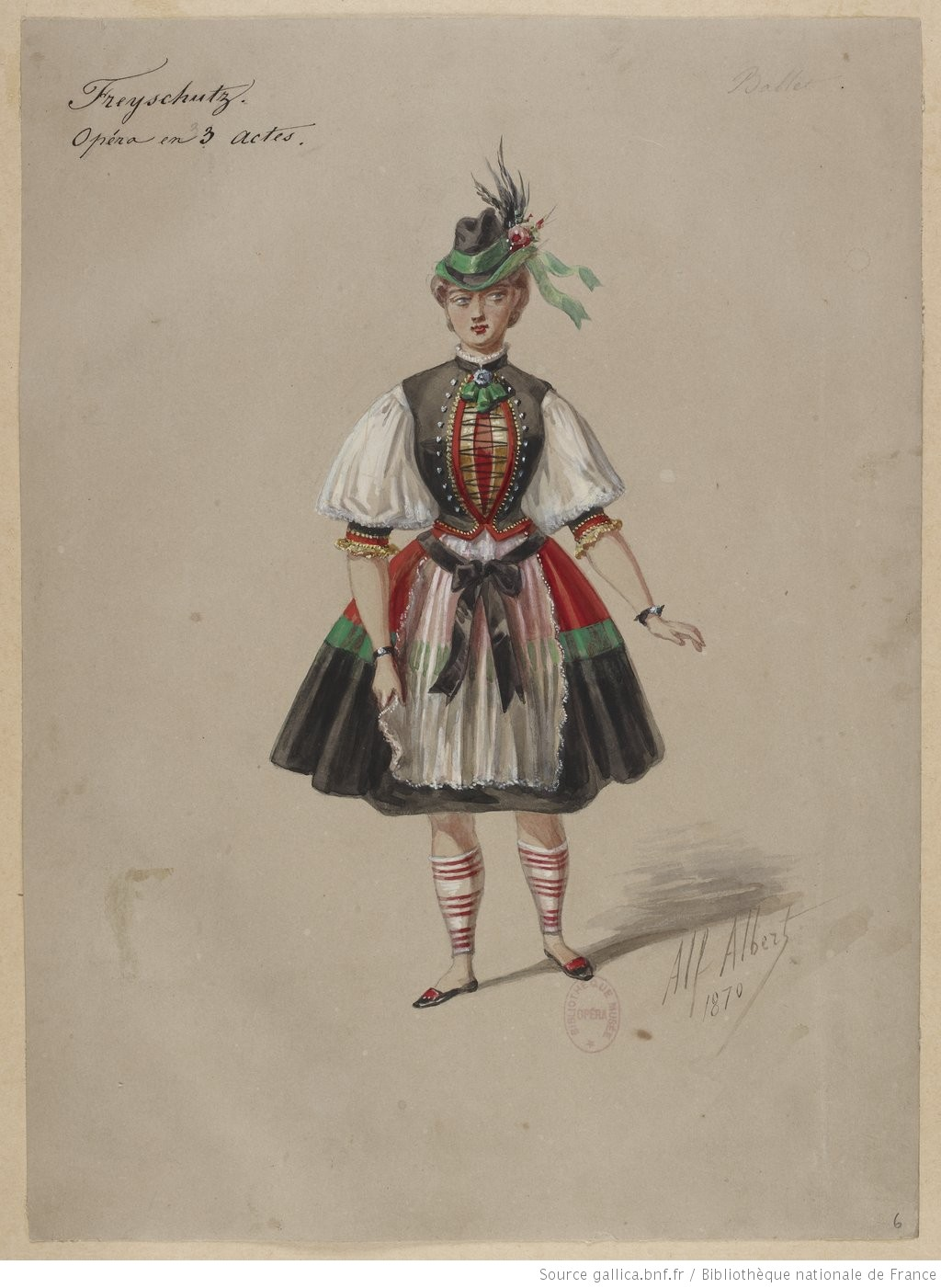 "Costume sketch or maquette for a dancer in the ballet scene from a production of ""Der Freischütz"". 1870-1877."