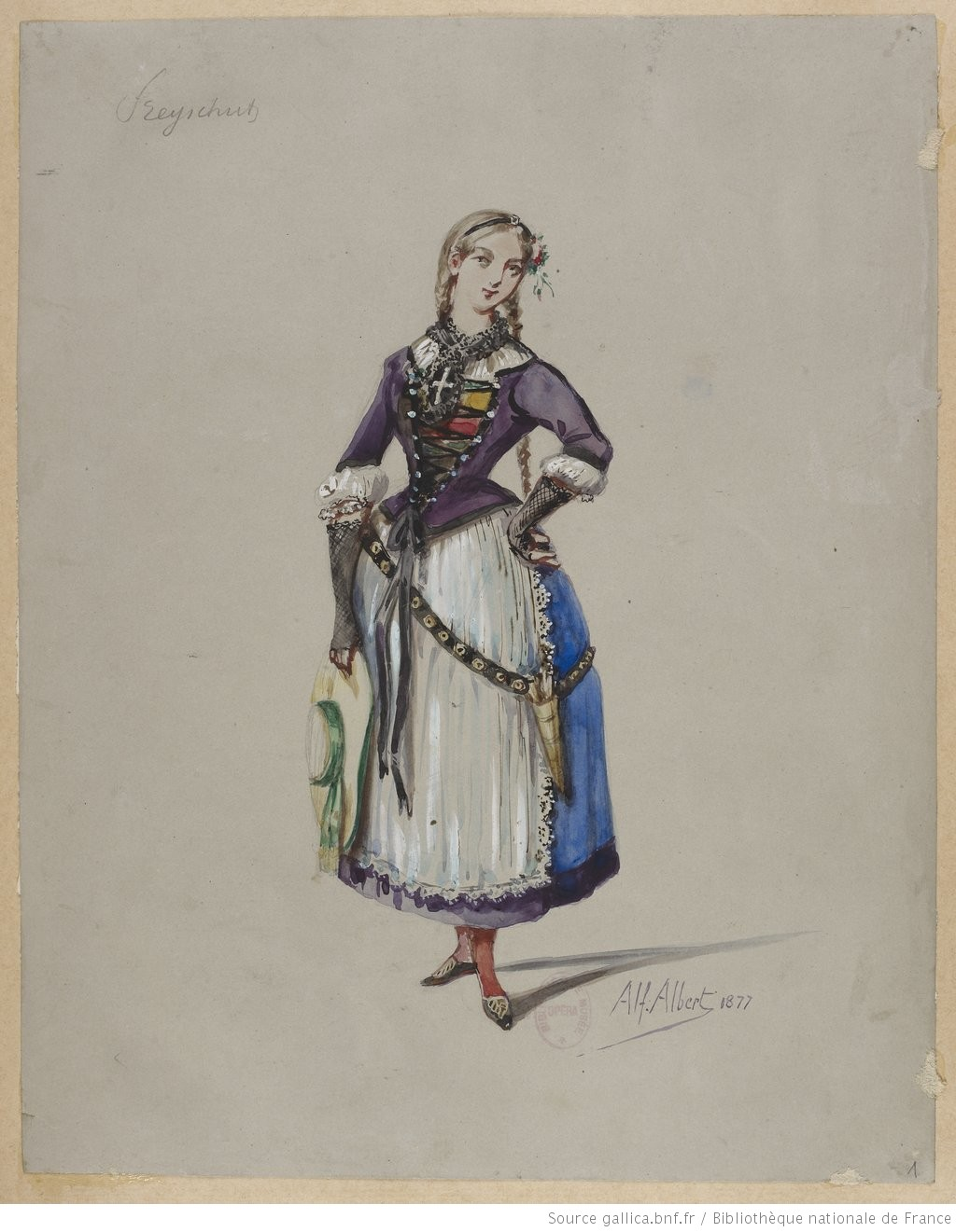 "Costume sketch or maquette for a production of the opera ""Der Freischütz"". 1870-1877."