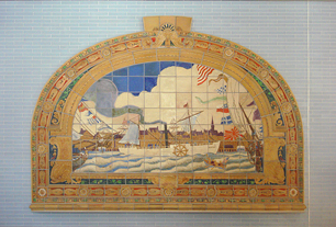 Mural made for the Marine Grill around 1913. Now located in the Fulton Street/William Street subway station. Relocated in 2011.