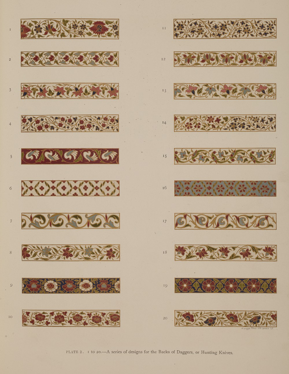 Plate 2. A series of designs for the backs of daggers or hunting knives.