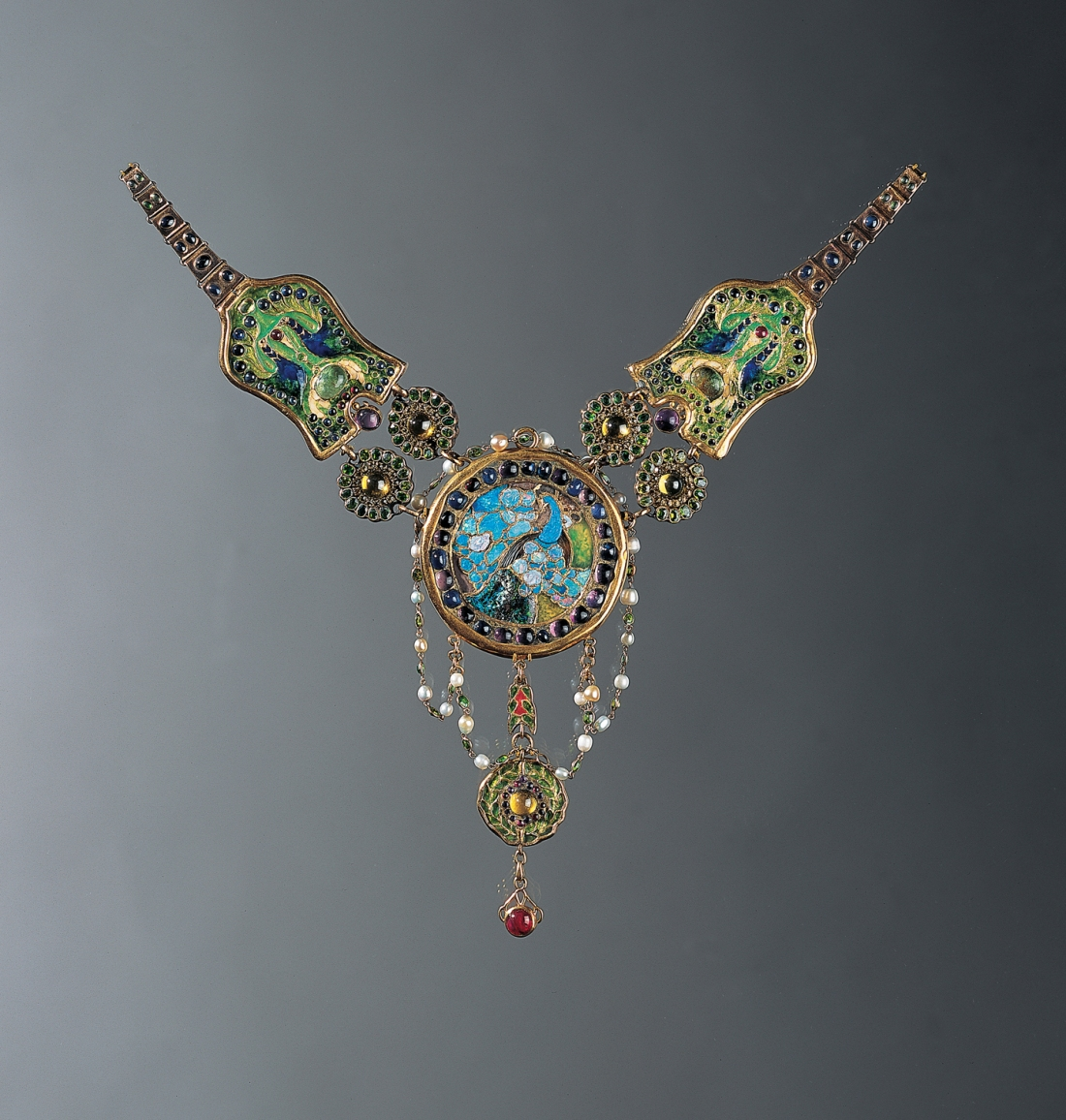 Peacock and flamingo necklace. ca. 1903-1906.