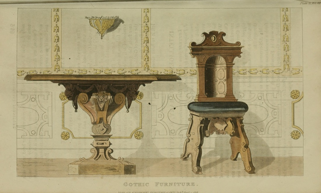Gothic furniture. Plate 21. 1819.