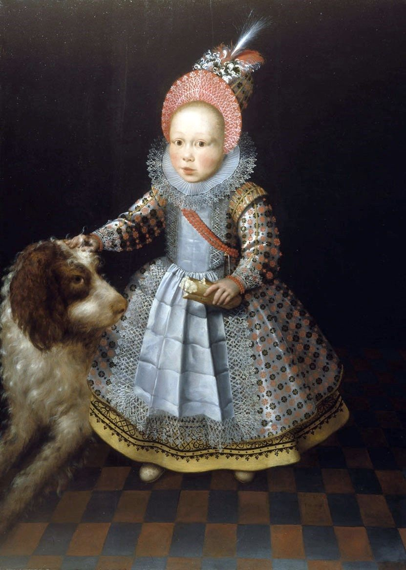 """Portrait of a child with a dog."" 1605."