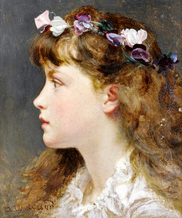 """A young girl with a garland of flowers in her hair."" Undated."