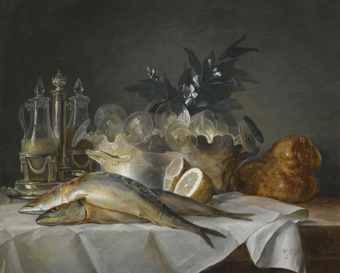 """A still life of mackerel, glassware, a loaf of bread and lemons on a table with a white cloth."" 1787."