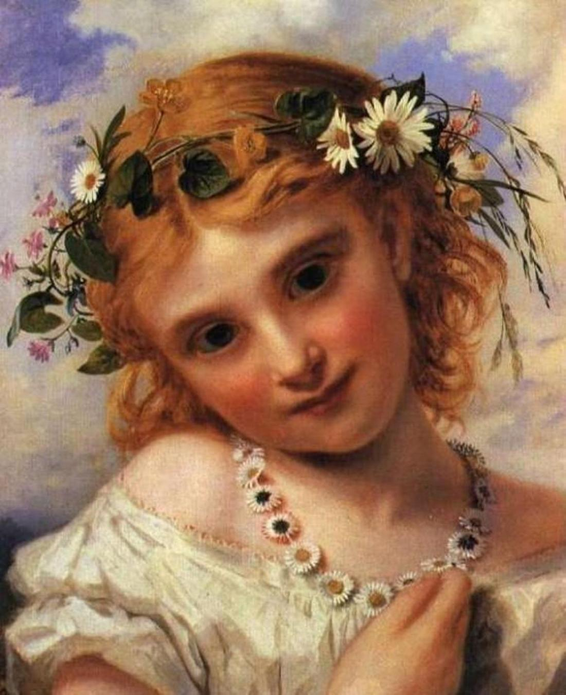 """Young Girl with a Garland of Marguerites."" Undated."