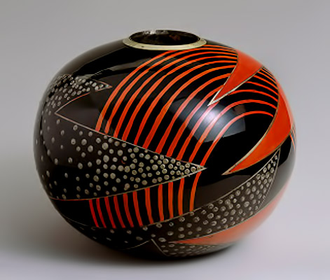 Lacquered metal vase. 1925.