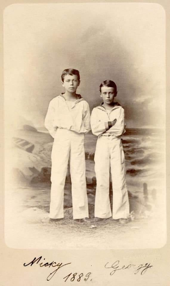Photograph of Tsarevich Nicholas and his brother Grand Duke George.