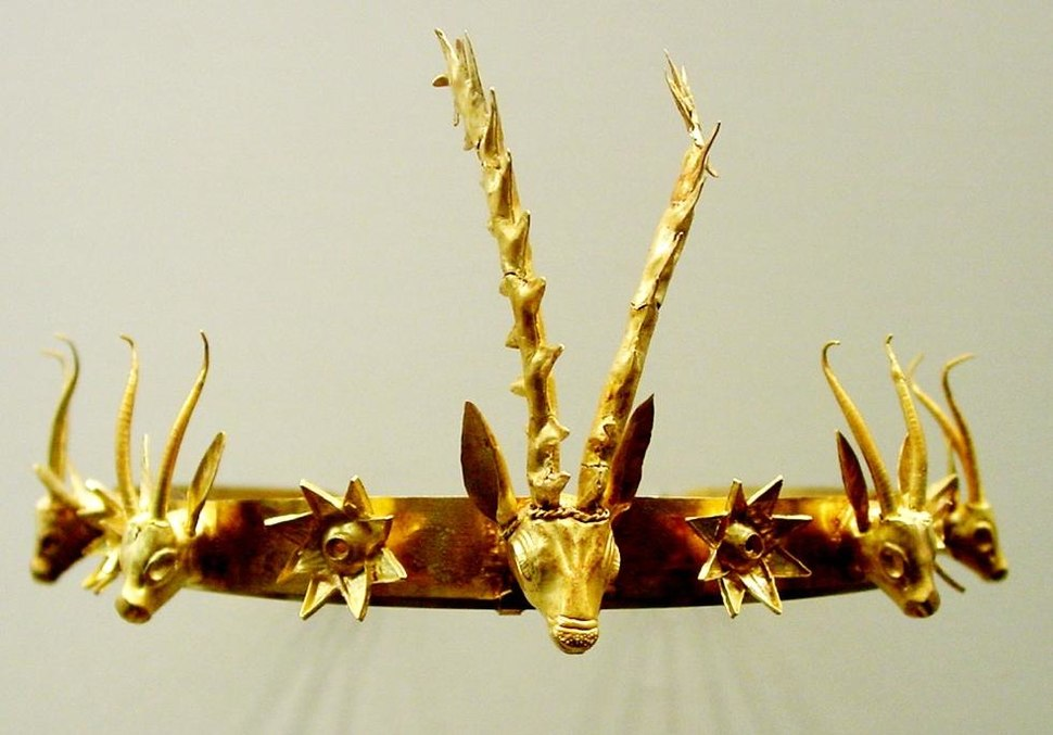 Circlet or diadem of an unknown Egyptian queen or a princess with four gazelle heads and rosettes.