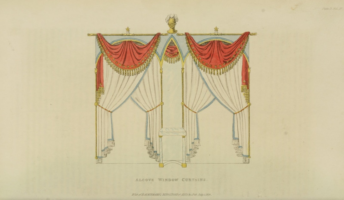 Alcove window curtains. 1824. Plate 3.