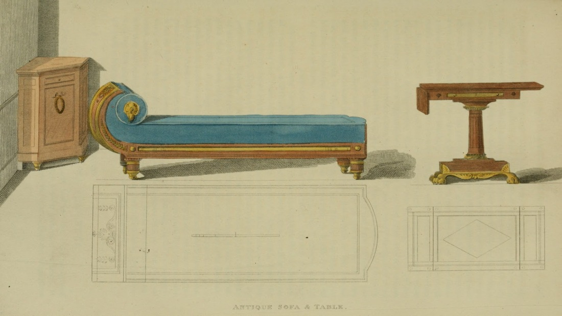 Antique style sofa and table. Plate 10. 1813.