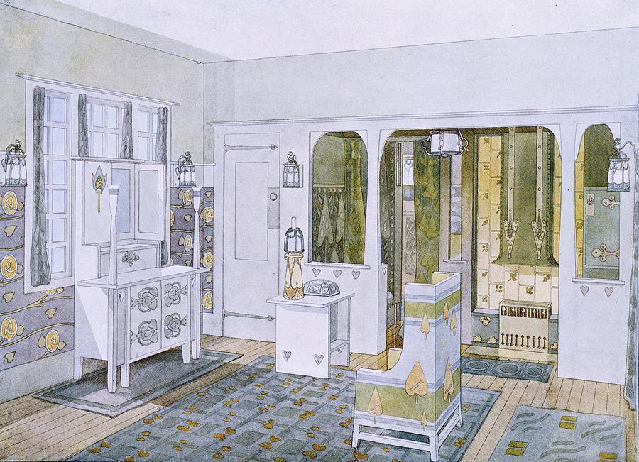Bedroom designed by Bradley in his house in Concord, Massachusetts. 1900-1903.
