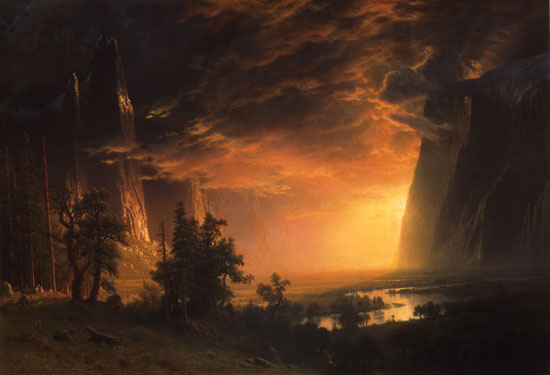 """""""Sunset in the Yosemite Valley."""" ca. 1868."""