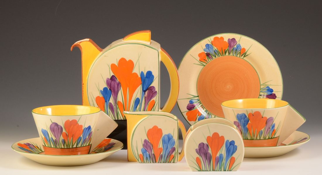 Crocus Stamford tea set for two. ca. 1931.