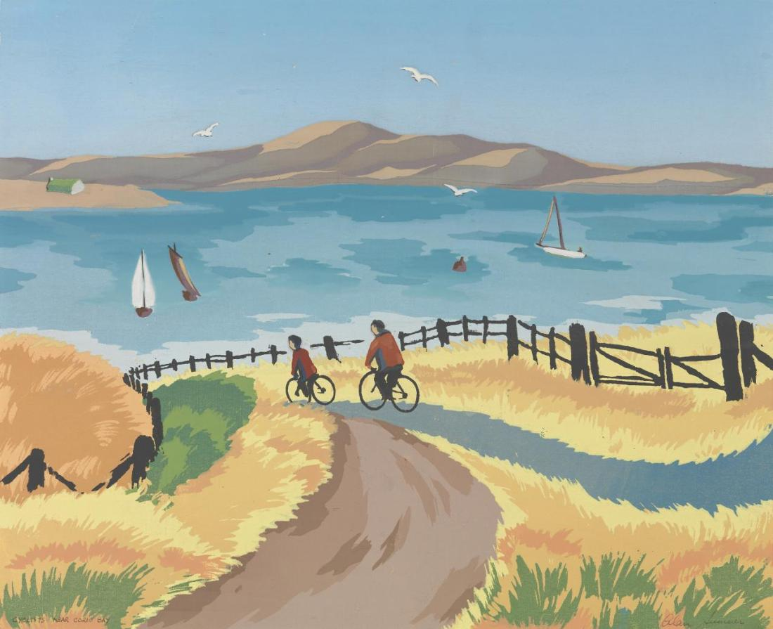 """Cyclists near Corio Bay."" ca. 1944."