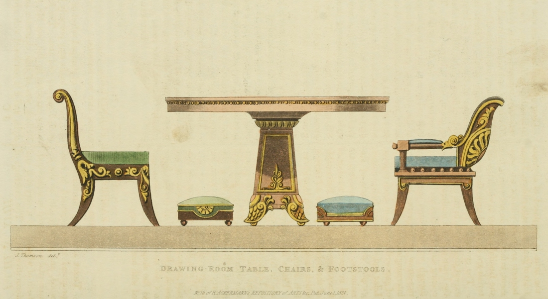 Drawingroom table, chairs and footstools. 1824. Plate 35.