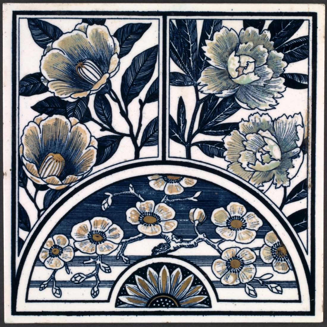 Suite of tiles, image of a Lunette with sprays, central half rosetteon two rectangular panels