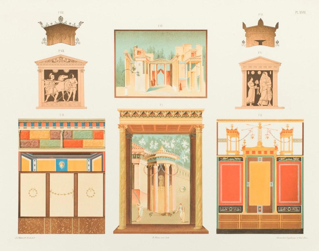"""""""Décorations en stuc, et peintres tirées de vases et de Pompéi, présentant aussi des entablements doriques placés sur des colonnes à chapiteaux à volutes ioniques et composites."""" Plate XVIII. 1846."""