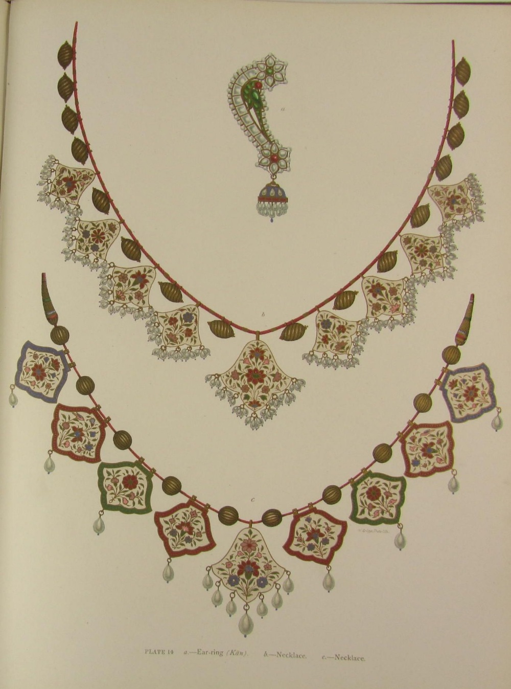 Earring and two necklaces. Plate 14.