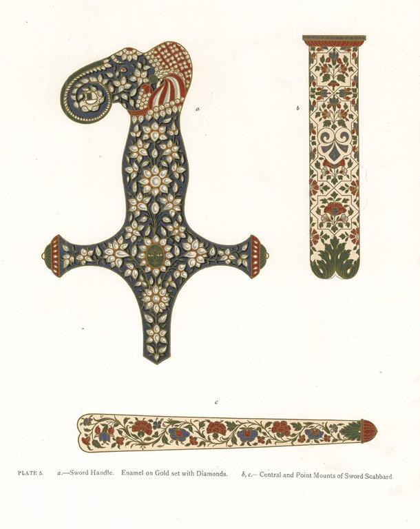 Sword handle, enamel on gold set with diamonds. Central and point mounts of sword scabbard. Plate 5.