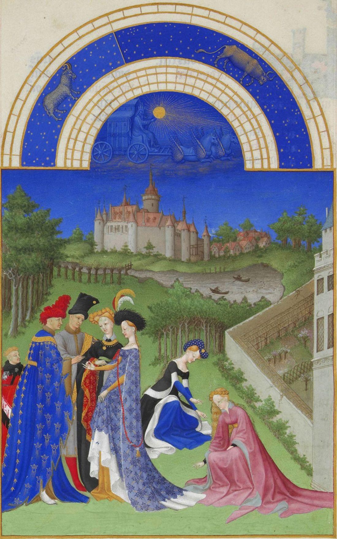 April from Les  Très Riches Heures du Duc de Berry. Folio 4.