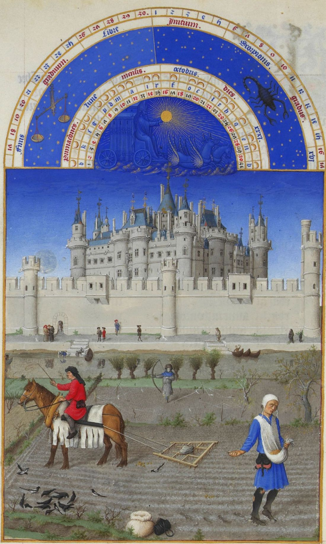 October from the Tres Riches Heures of the Duc de Berry. 1412-1416.