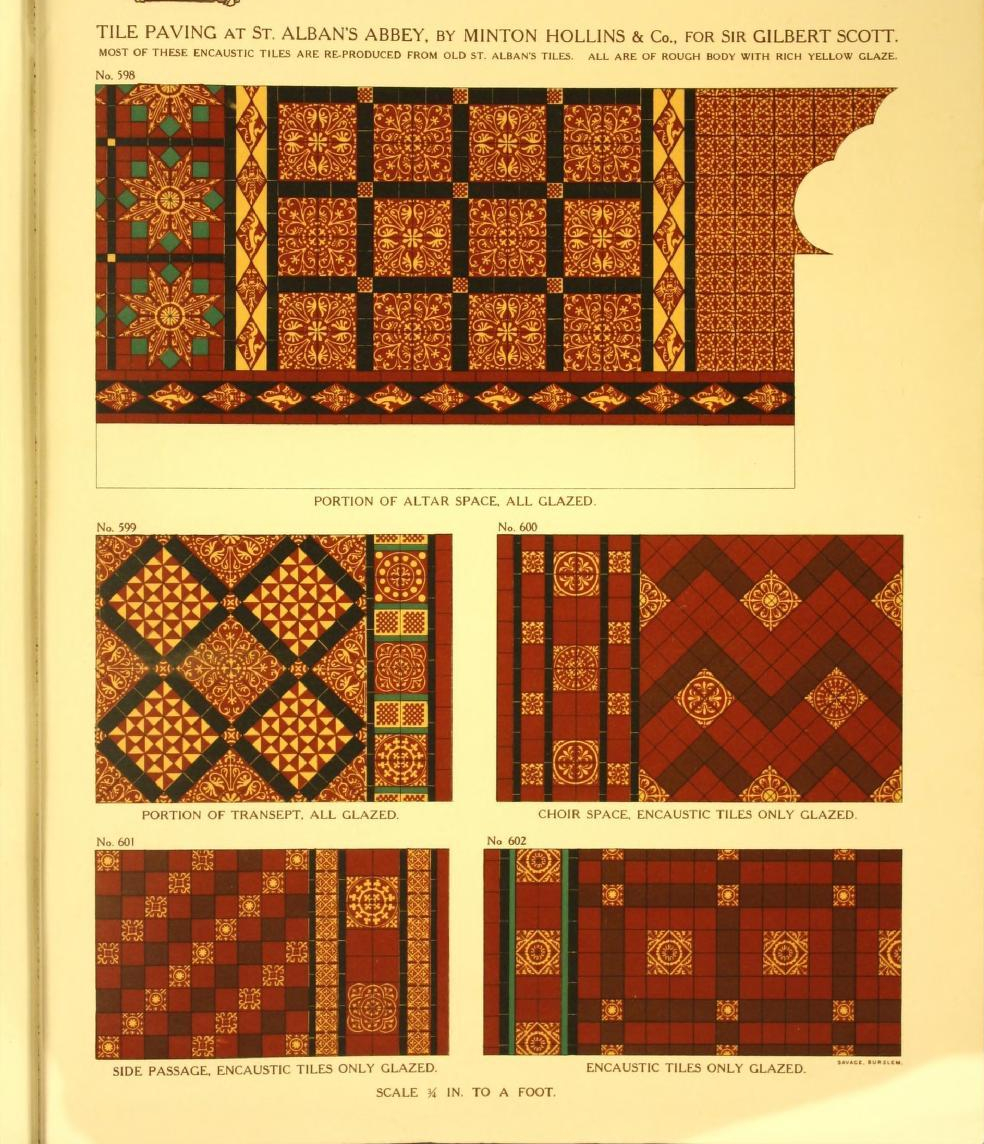 """Tile paving at Saint Alban's Abbey, done by Minton Hollis & Company for Sir Gilbert Scott."""