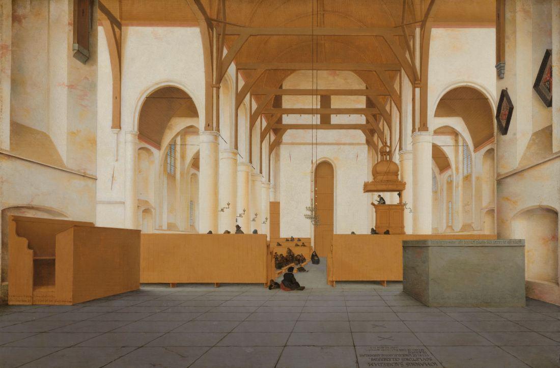 """Interior of the Sint-Odulphuskerk in Assendelft."" 1649."