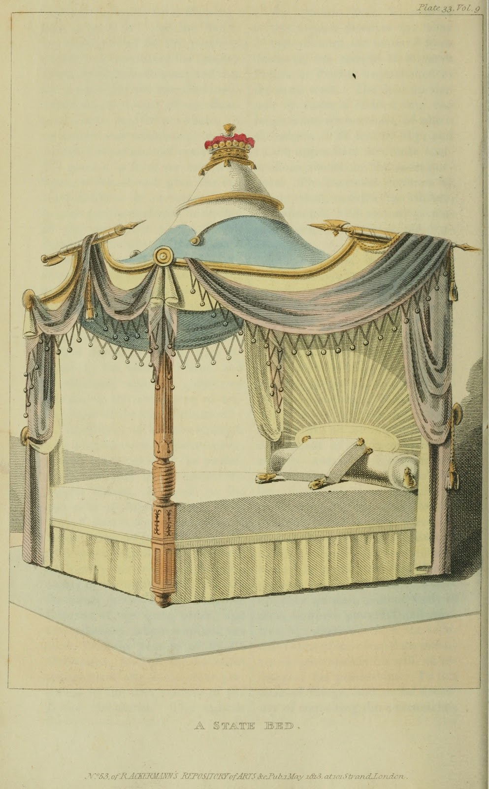 Four poster state bed. Plate 33. 1813.