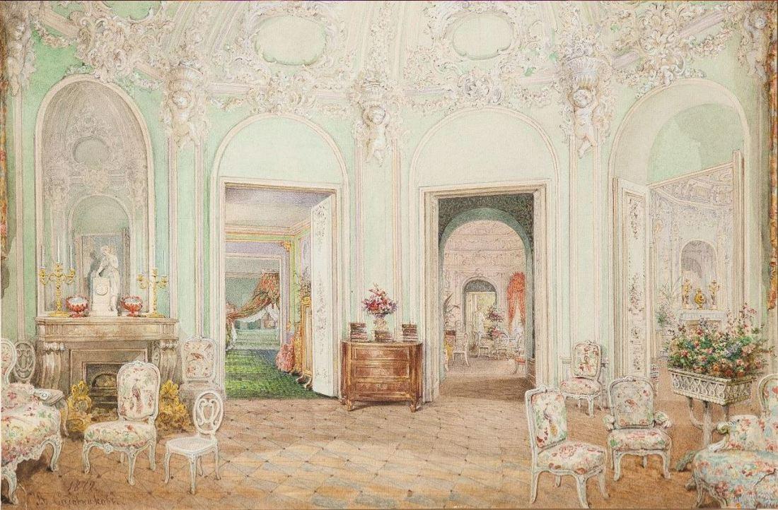 Drawing room in the rotunda.
