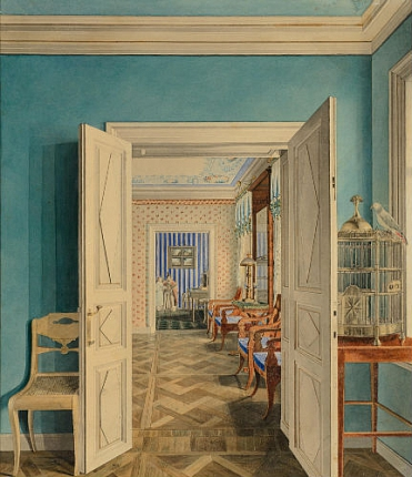 """A suite of rooms with a birdcage in the foreground in an unknown mansion."" 1830's."