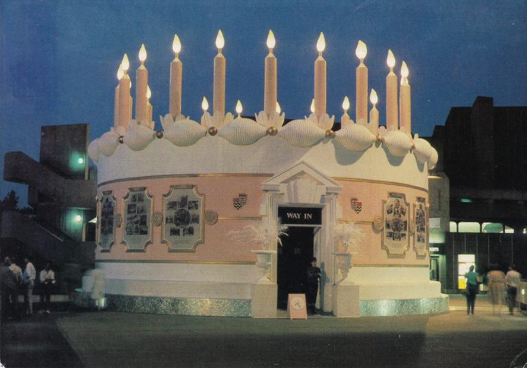 Exhibition hall designed to look like a giant birthday cake for an exhibition on the South Bank of London that celebrated  95 years of the London County Council. 1984.