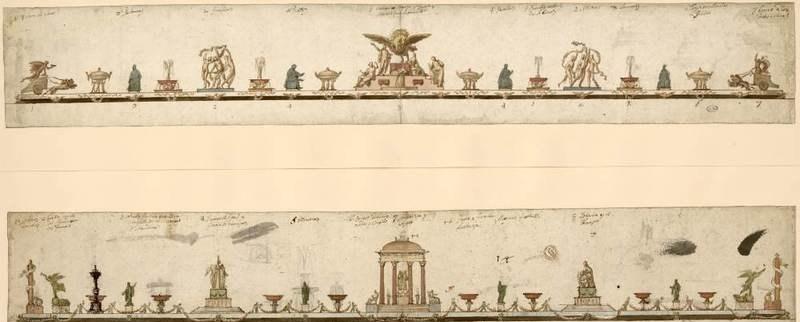 Design for two modèles de surtout de table (detail).