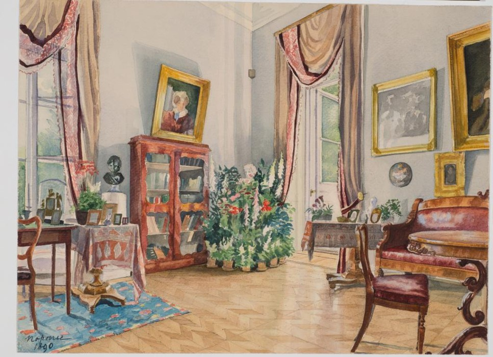 Cabinet-drawing room of the Uvarovyh estate, Porechye, Moscow province. 1890.
