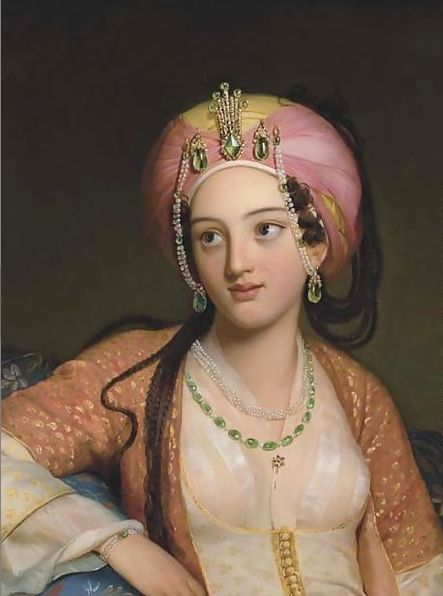 """Eugene Francois Marie Joseph Deveria, Roxane in Racine's ""Bajazet"" tragedy."""