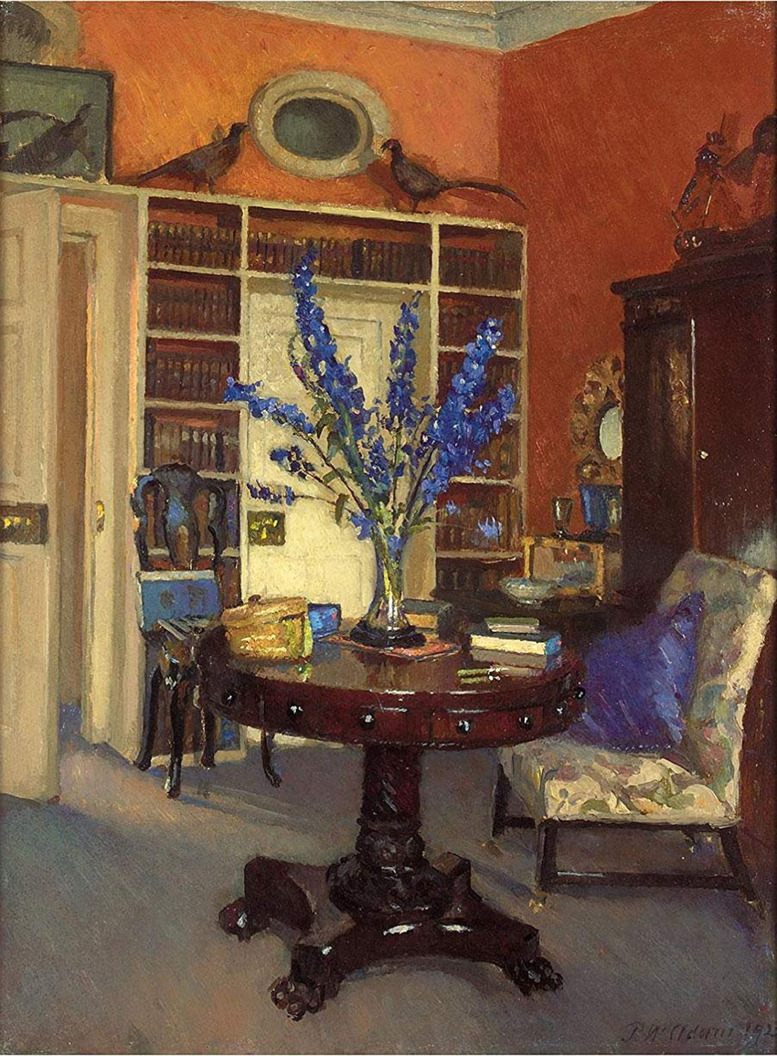 """Orange and Blue, The Library at Ardilea."" ca. 1911."