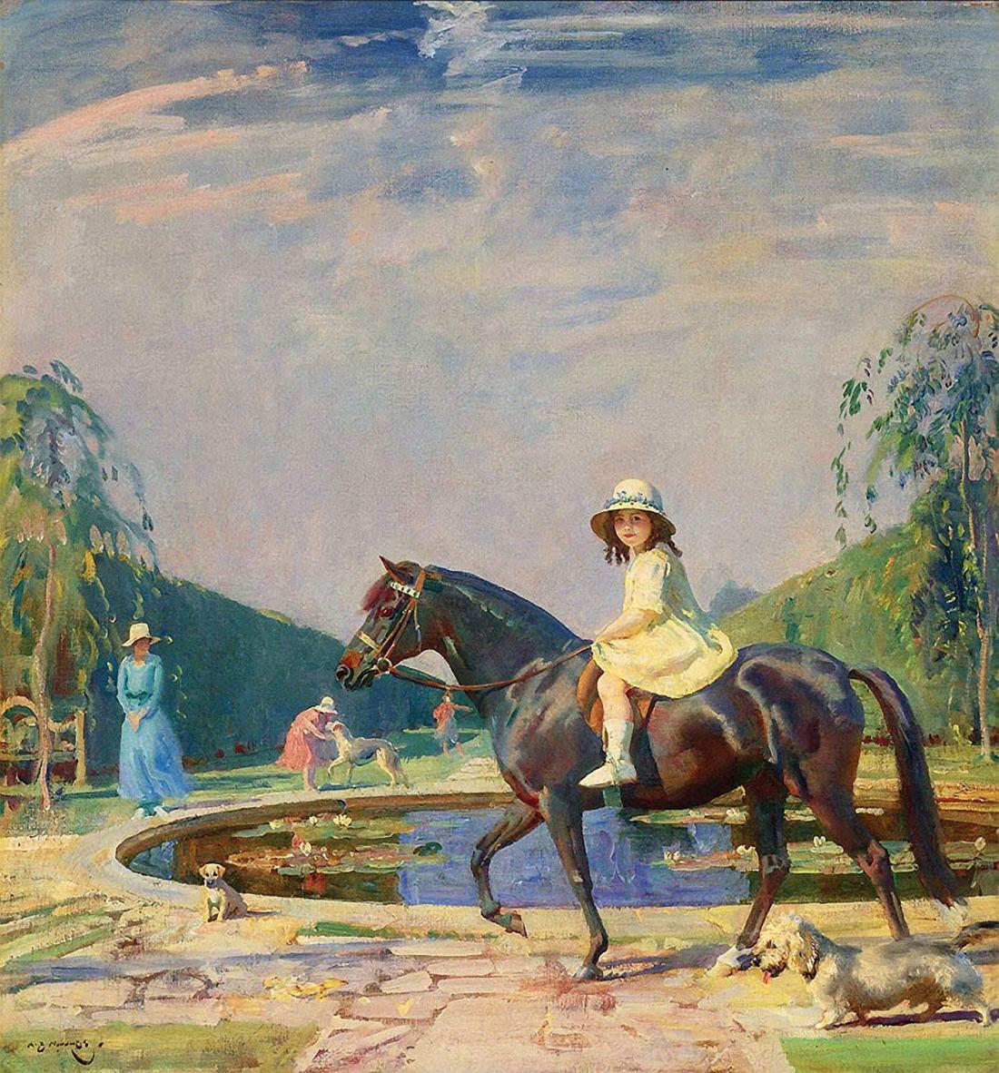 """""""Portrait of Miss Patricia Grace on a Pony."""" 1922."""