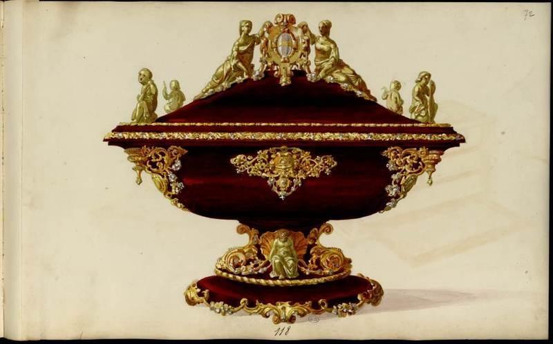 Design for a surtout de table (centerpiece) from the Album Giroux. 1852-1870.