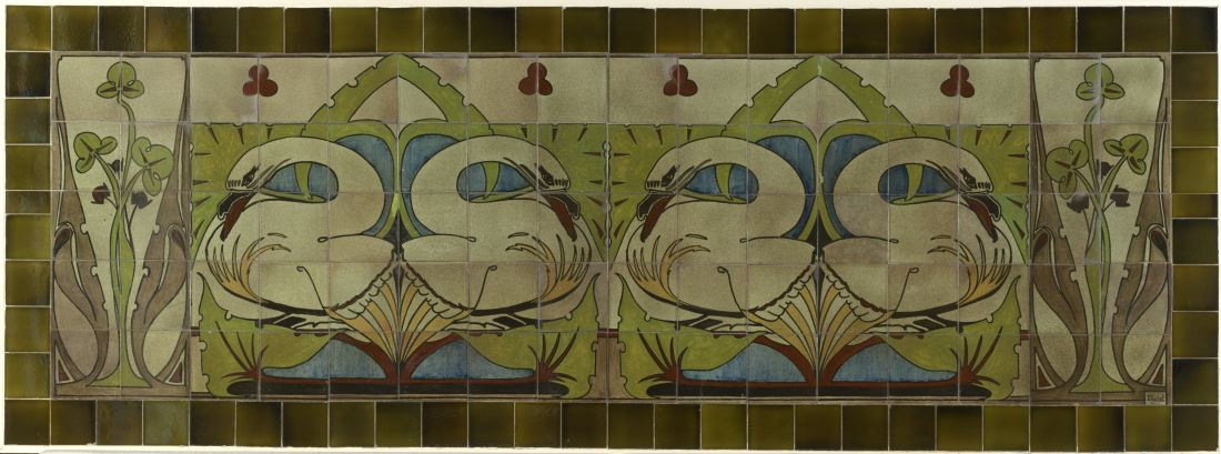 """""""Tegeltableau met zwanen en bladwerk"""" (Tile tableau with swans and leaves) ca. 1910."""
