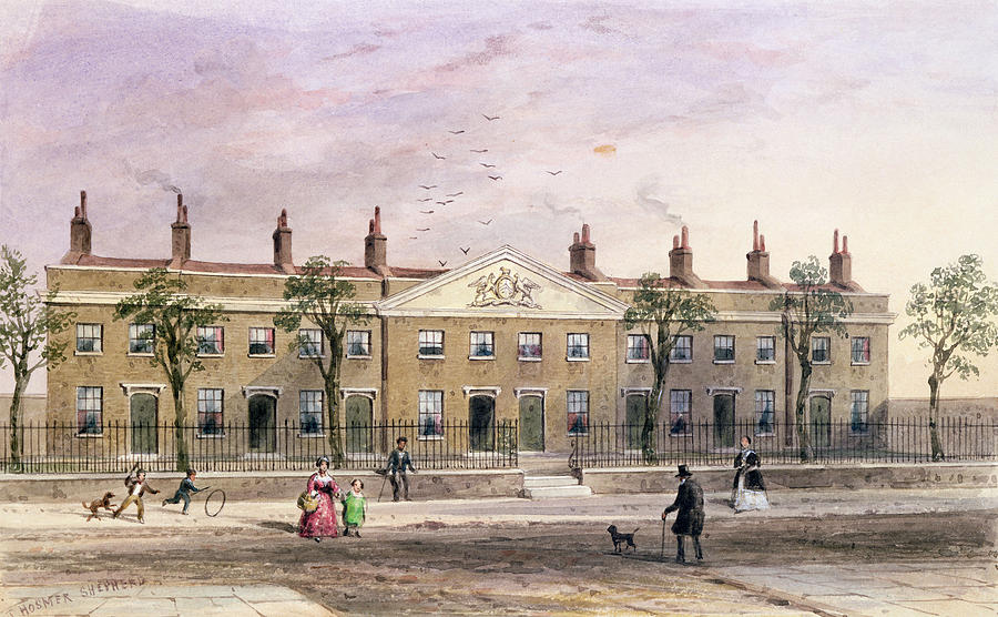 """""""Clothworkers Almhouses In Frog Lane."""" Undated."""