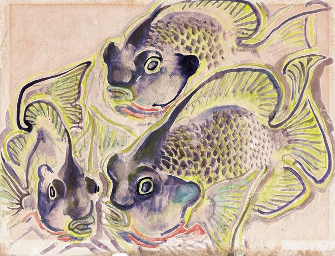 Fish print. One of a series of alphabet prints. Undated.