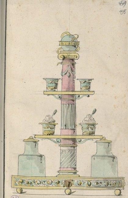Dessin for a surtout à liqueur. 1775-1785.